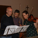 Discussing details with violinists Cecilia and  Martin Gelland