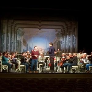 Probe mit der Württembergischen Philharmonie Reutlingen und Lukasz Borowicz im Rokokotheater Schwetzingen