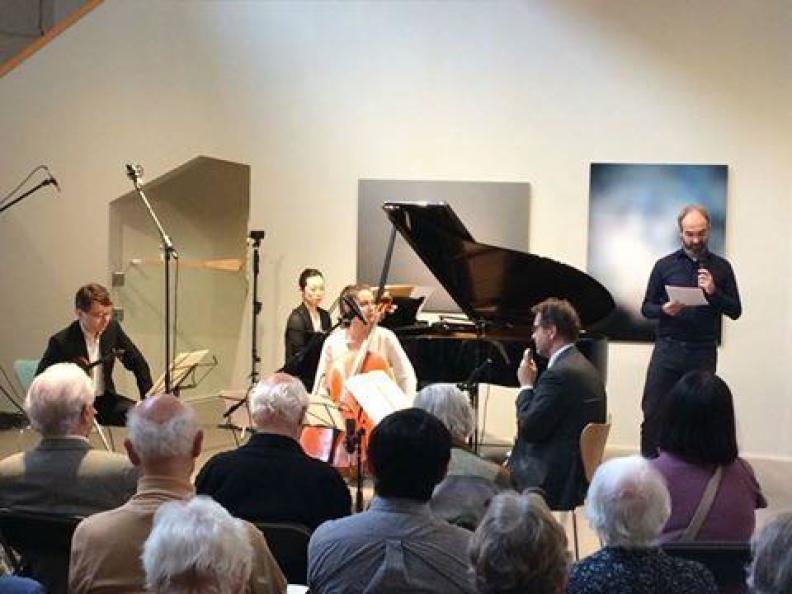 Messiaen Ensemble Keiko Sakuma piano Sergei Bolotny violin Joost van Rheeden clarinet Noelle Weidmann cello Bert Scholtes prasentation