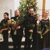 Die Solisten beim Weihnachtsoratorium in der Konkordienkirche Mannheim: Jina Choi, Seung Ju Bahg, Modestas Sedlevičius, Alina Wunderlin, Julia Pastor