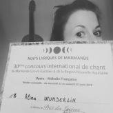 "Siegerurkunde, ""Concours International de Chant Marmande"", Sommer 2018"