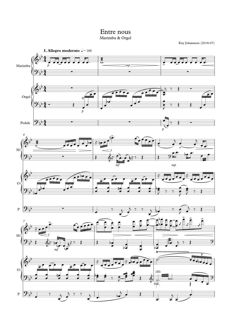 Entre nous (Marimba, Orgel), 1. Satz (Anfang)