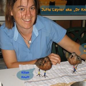 """Jutta Leyrer aka """"Dr Knutt"""" hat mir mit vielen Tipps grossartig geholfen bei der Zugvogel-CD, sie hat sogar ihre Doktorarbeit über den Knutt geschrieben!"""