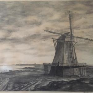 1759 wurde in Munkmarsch eine Mühle gebaut, die bis 1921 bestand. (Kohlegemälde von Anton Schmidt)