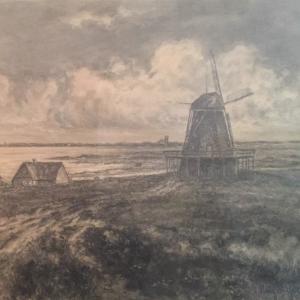 Mühlenromantik mit Blick von Norden nach Munkmarsch in die Keitumer Bucht (Kohlegemälde von Hugo Beck).