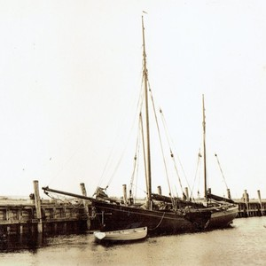 Die alte Anlegebrücke des Hafen Munkmarsch/Sylt. (Foto: Sammlung Elsa Hegwer-Borstelmann)