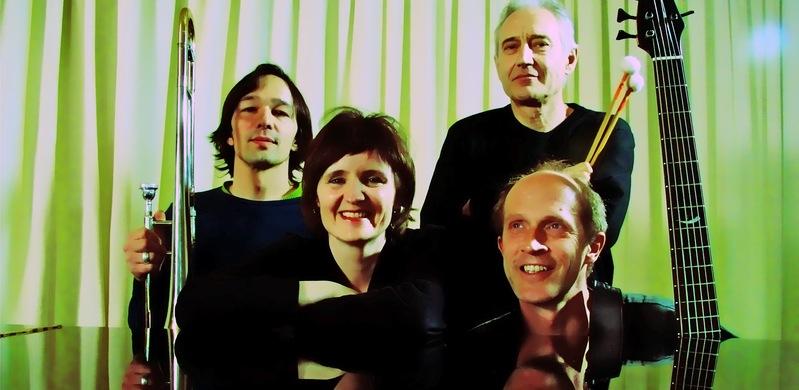 Nick Gutersohn, trombone, M.K., Marco Käppeli, drums, Jan Schlegel, el. bass