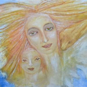 Mutter und Kind / Guach auf Pappe Öl