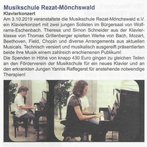Amtsblatt Stadt Windsbach, 03.10.2019 - Klavierkonzert von Theresa und Simon Schneider